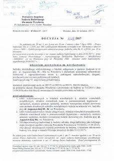 Maślice ul. Augustowska 80-86a - Pozwolenie na użytkowanie - 20170426