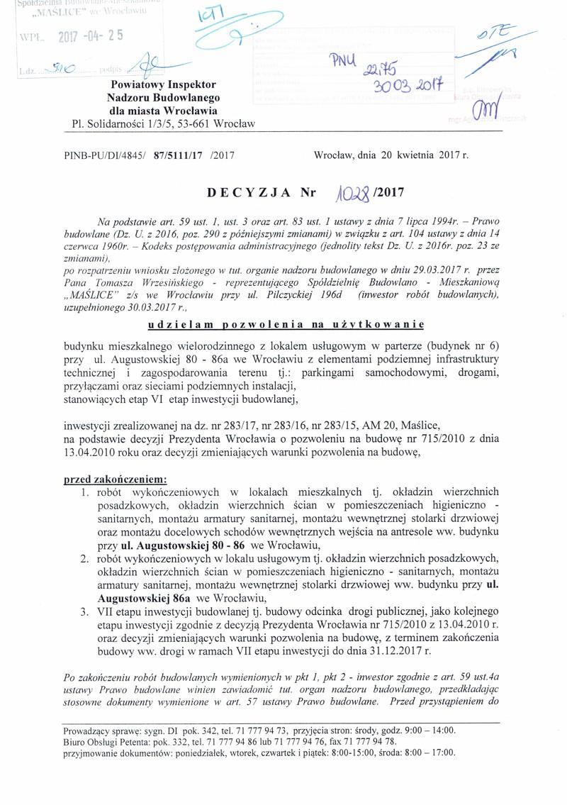 Pozwolenie na użytkowanie Augustowska 80-86a