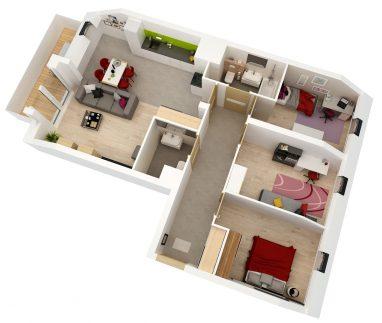 Maślice aksonometria mieszkania 77 m2 ul. Reszelska