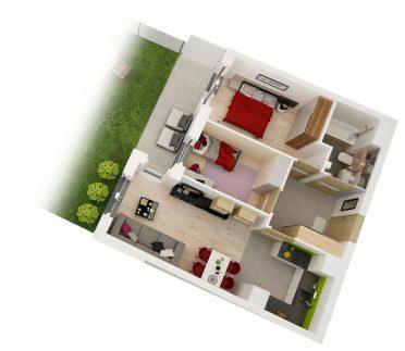 Maślice aksonometria mieszkania 51 m2 ul. Ostródzka