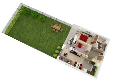 Maślice aksonometria mieszkania 51 m2 z ogródkiem ul. Ostródzka